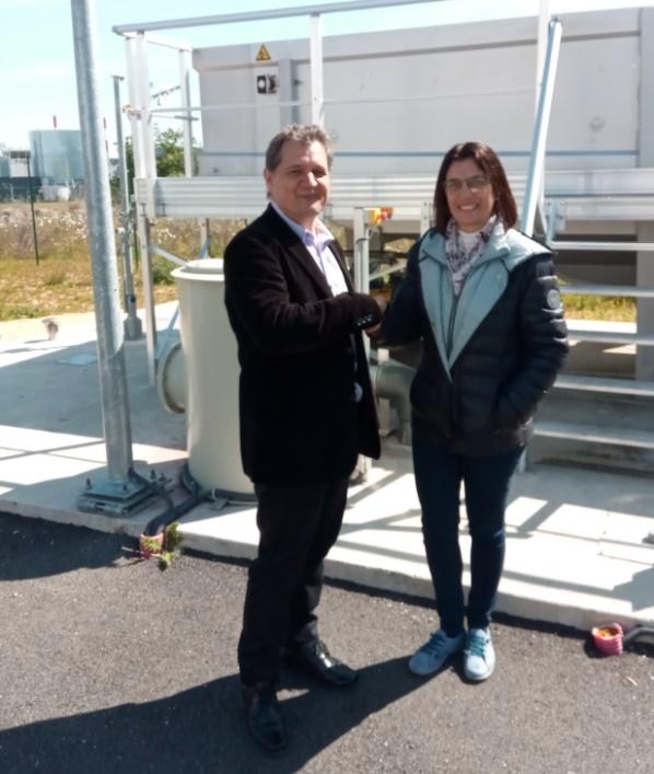 Photo : Séverine FERRER CORRE (Chef de service eau-assainissement Agglomération d'Agen) & Pascal PECH (Responsable commercial SAPOVAL)